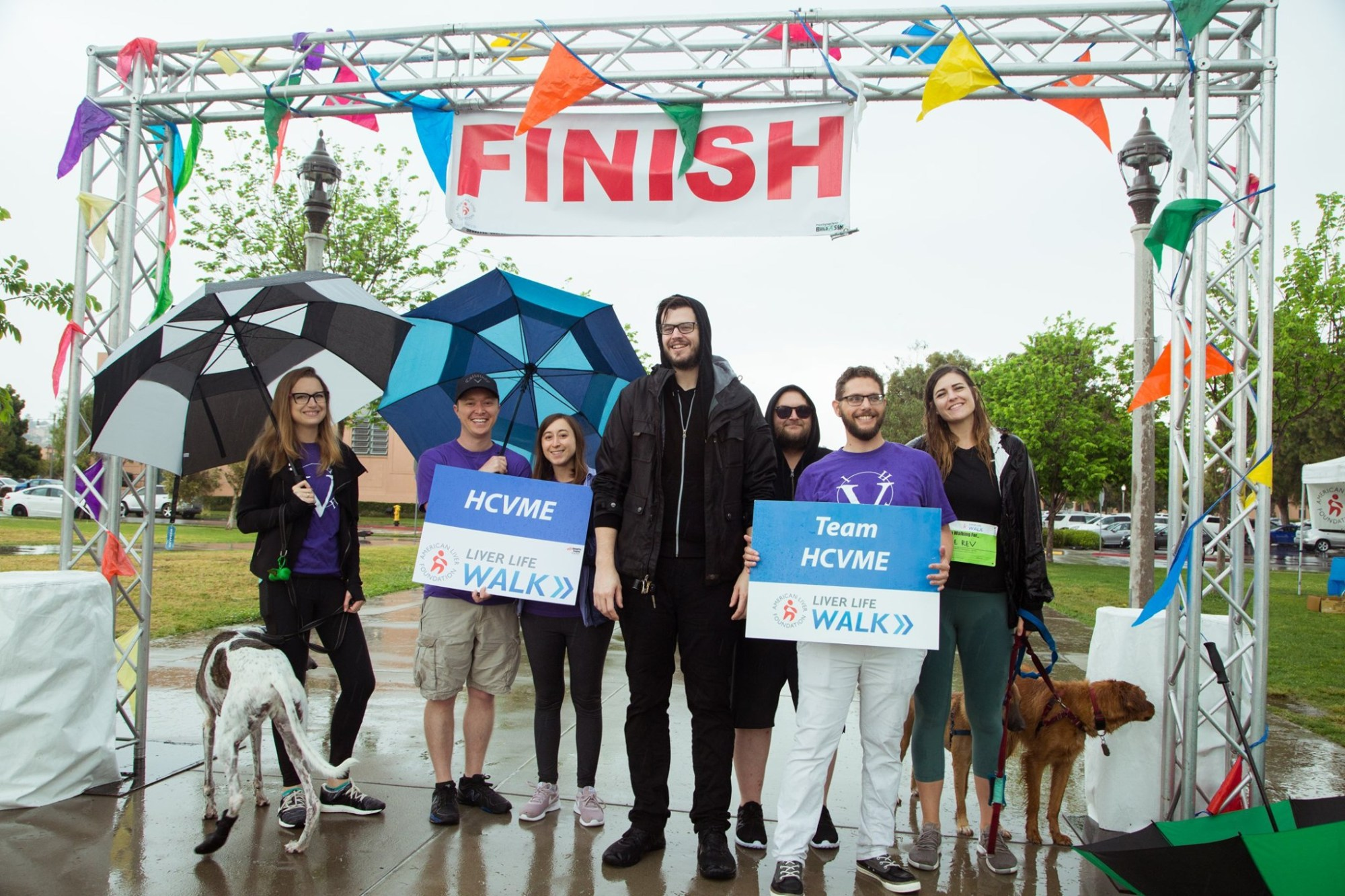 Group of friends at the finish line for Liver Life Walk